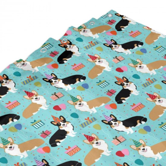 Corgi Birthday Fabric Cute Presents Balloons Fabric Corgi Dogs Fabric Shower Curtain , Shower Bathroom Curtain 55x72 Inch Waterproof Fabric with Hooks , Wildly used in bathroom and hotel etc.