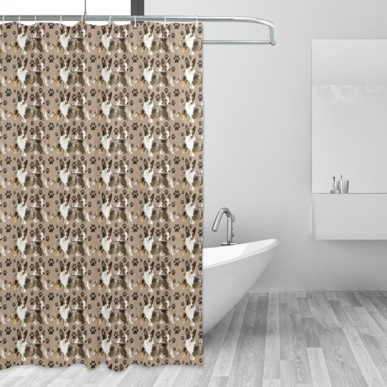 Cardigan Corgis With Paw Prints Shower Curtain , Shower Bathroom Curtain 55x72 Inch Waterproof Fabric with Hooks , Wildly used in bathroom and hotel etc.