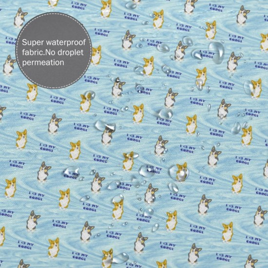 3 My Corgi- Blue Shower Curtain , Shower Bathroom Curtain 55x72 Inch Waterproof Fabric with Hooks , Wildly used in bathroom and hotel etc.