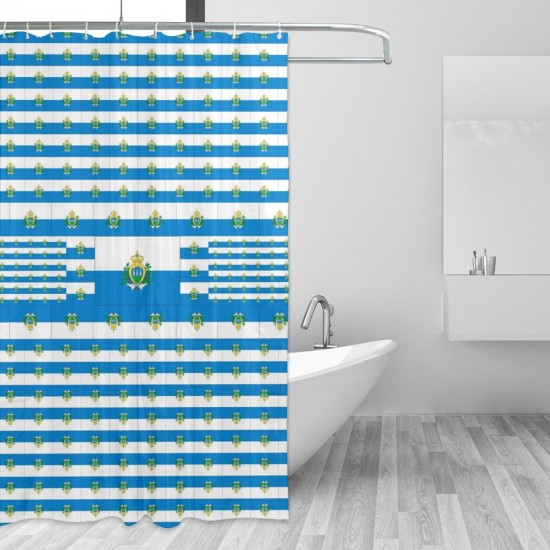 San Marino Shower Curtain , Shower Bathroom Curtain 55x72 Inch Waterproof Fabric with Hooks , Wildly used in bathroom and hotel etc.