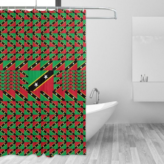 Saint Kitts And Nevis Shower Curtain , Shower Bathroom Curtain 55x72 Inch Waterproof Fabric with Hooks , Wildly used in bathroom and hotel etc.