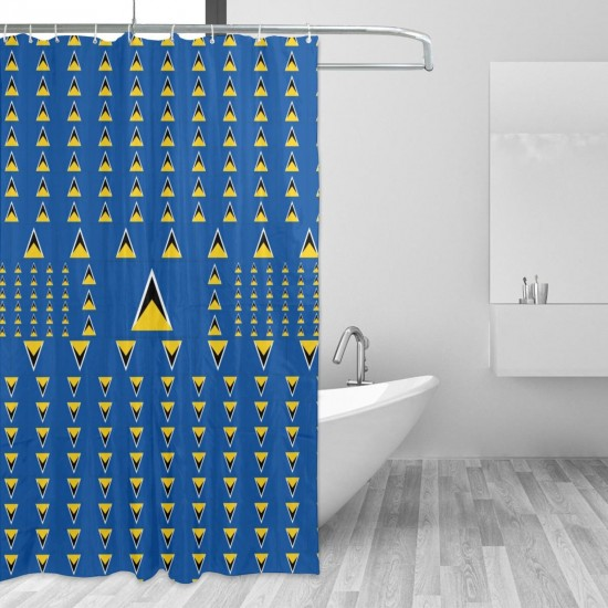 Saint Lucia Shower Curtain , Shower Bathroom Curtain 55x72 Inch Waterproof Fabric with Hooks , Wildly used in bathroom and hotel etc.