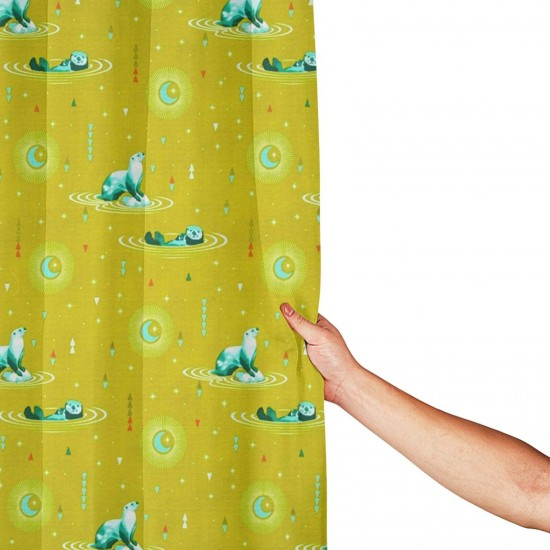 Animal Otter And Chill Sun Kissed Shower Curtain , Shower Bathroom Curtain 55x72 Inch Waterproof Fabric with Hooks , Wildly used in bathroom and hotel etc.
