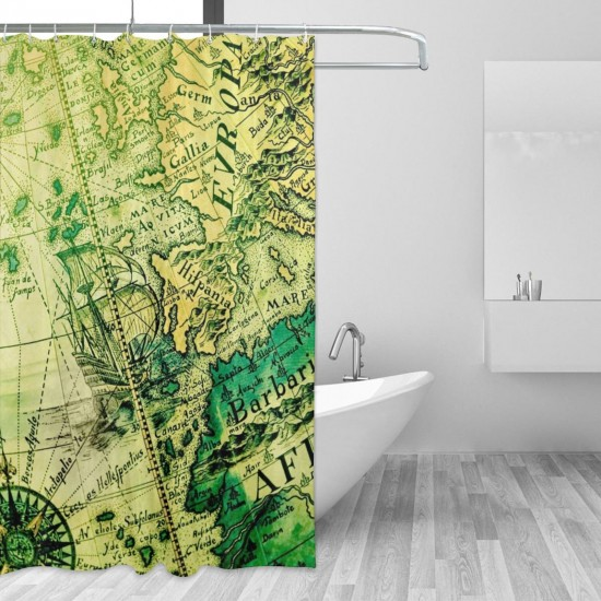 Ancient Map Of The World Shower Curtain , Shower Bathroom Curtain 55x72 Inch Waterproof Fabric with Hooks , Wildly used in bathroom and hotel etc.