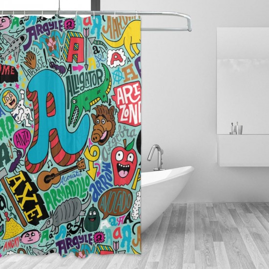 Alphabet Animal Pattern Shower Curtain , Shower Bathroom Curtain 55x72 Inch Waterproof Fabric with Hooks , Wildly used in bathroom and hotel etc.