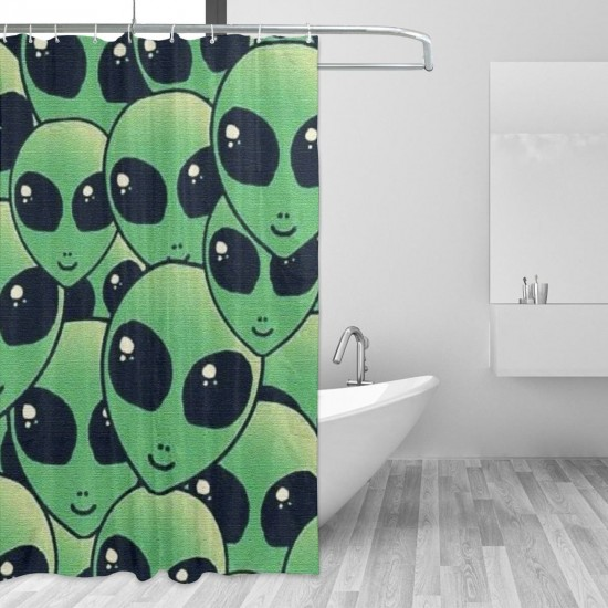 Alien Face Pattern 2 Shower Curtain , Shower Bathroom Curtain 55x72 Inch Waterproof Fabric with Hooks , Wildly used in bathroom and hotel etc.