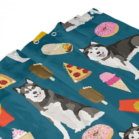 Alaskan Malamute Foodie Shower Curtain , Shower Bathroom Curtain 55x72 Inch Waterproof Fabric with Hooks , Wildly used in bathroom and hotel etc.
