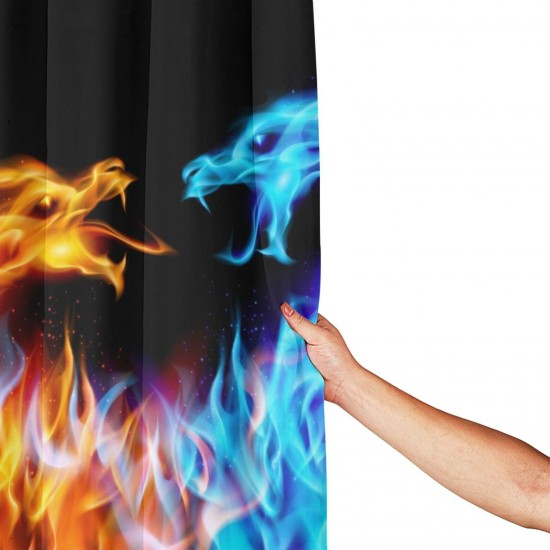 Abstract Red Blue Fiery Dragon Shower Curtain , Shower Bathroom Curtain 55x72 Inch Waterproof Fabric with Hooks , Wildly used in bathroom and hotel etc.