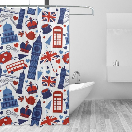 Abstract Fly World Pattern Shower Curtain , Shower Bathroom Curtain 55x72 Inch Waterproof Fabric with Hooks , Wildly used in bathroom and hotel etc.