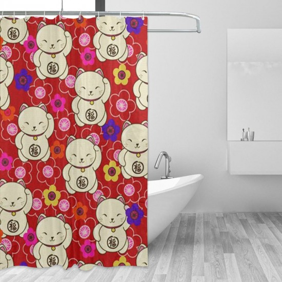 A Lot Of Fortune Cats Shower Curtain , Shower Bathroom Curtain 55x72 Inch Waterproof Fabric with Hooks , Wildly used in bathroom and hotel etc.