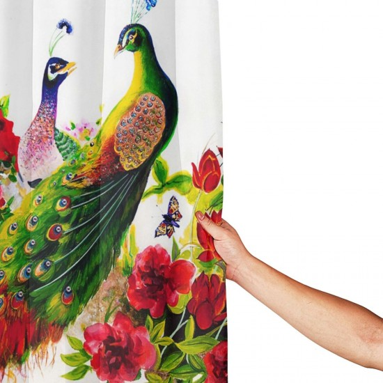 A Pair Of Peacocks With Japanese Red Flowers And Magic Shower Curtain , Shower Bathroom Curtain 55x72 Inch Waterproof Fabric with Hooks , Wildly used in bathroom and hotel etc.