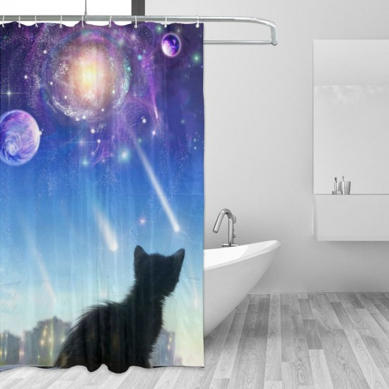 A Kitten On A Window Looks At Space Shower Curtain , Shower Bathroom Curtain 55x72 Inch Waterproof Fabric with Hooks , Wildly used in bathroom and hotel etc.