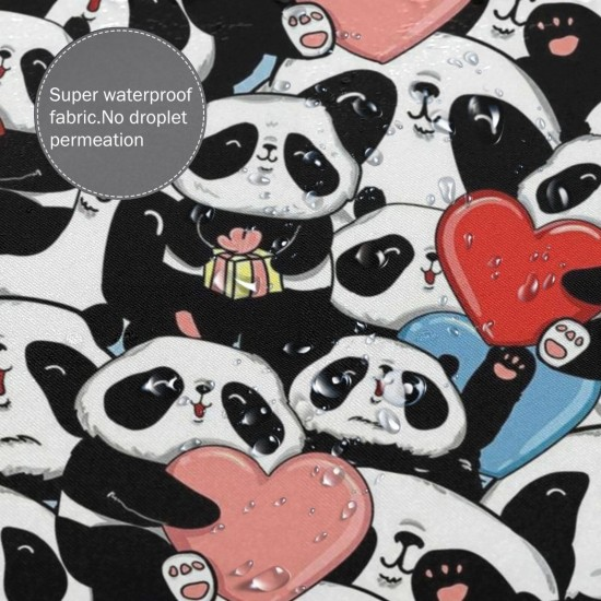 A Happy Panda Shower Curtain , Shower Bathroom Curtain 55x72 Inch Waterproof Fabric with Hooks , Wildly used in bathroom and hotel etc.