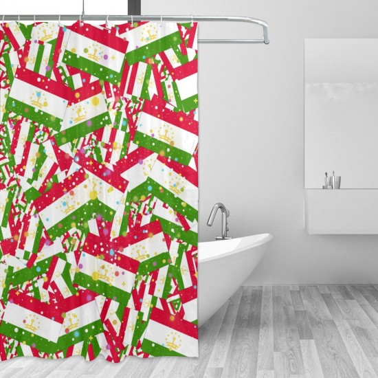 Tajikistan Shower Curtain , Shower Bathroom Curtain 55x72 Inch Waterproof Fabric with Hooks , Wildly used in bathroom and hotel etc.