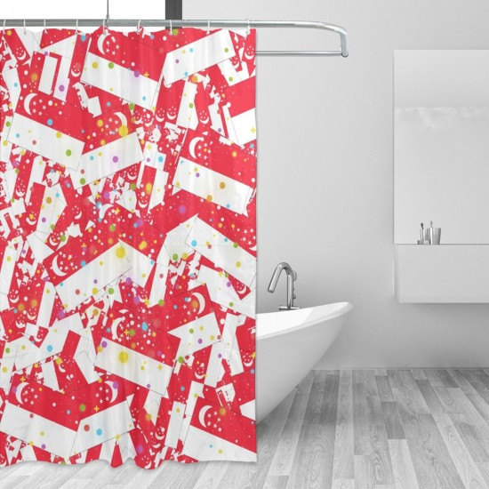 Singapore Shower Curtain , Shower Bathroom Curtain 55x72 Inch Waterproof Fabric with Hooks , Wildly used in bathroom and hotel etc.