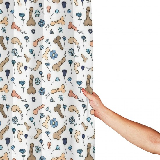 B07B6JJVF5 Penis Flower Printed Shower Curtain , Shower Bathroom Curtain 55x72 Inch Waterproof Fabric with Hooks , Wildly used in bathroom and hotel etc.