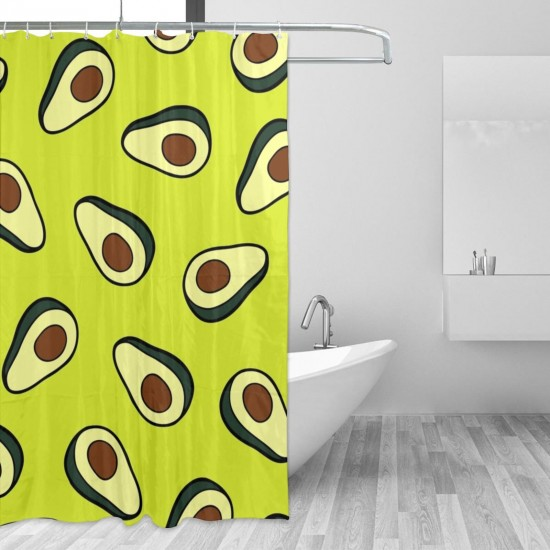 Avocado Pattern Yellow Shower Curtain , Shower Bathroom Curtain 55x72 Inch Waterproof Fabric with Hooks , Wildly used in bathroom and hotel etc.