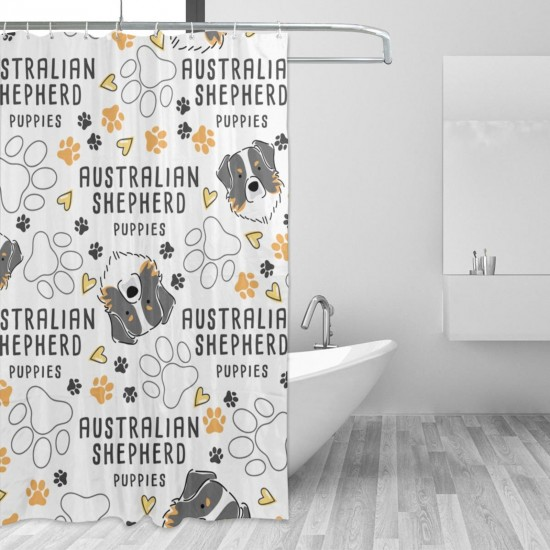 Australian Shepherd Dog Breed Collection Shower Curtain , Shower Bathroom Curtain 55x72 Inch Waterproof Fabric with Hooks , Wildly used in bathroom and hotel etc.