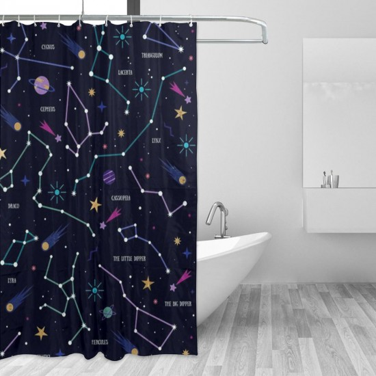 Art Planets Illustration Shower Curtain , Shower Bathroom Curtain 55x72 Inch Waterproof Fabric with Hooks , Wildly used in bathroom and hotel etc.