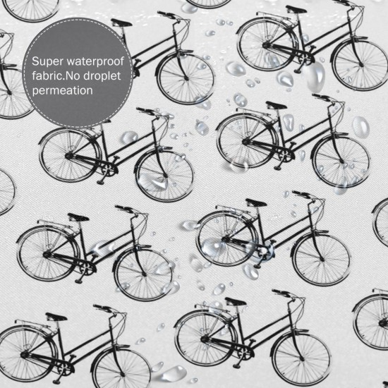 Antique Bicycles Shower Curtain , Shower Bathroom Curtain 55x72 Inch Waterproof Fabric with Hooks , Wildly used in bathroom and hotel etc.