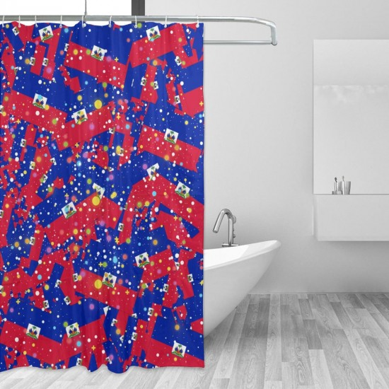 Haiti Shower Curtain , Shower Bathroom Curtain 55x72 Inch Waterproof Fabric with Hooks , Wildly used in bathroom and hotel etc.
