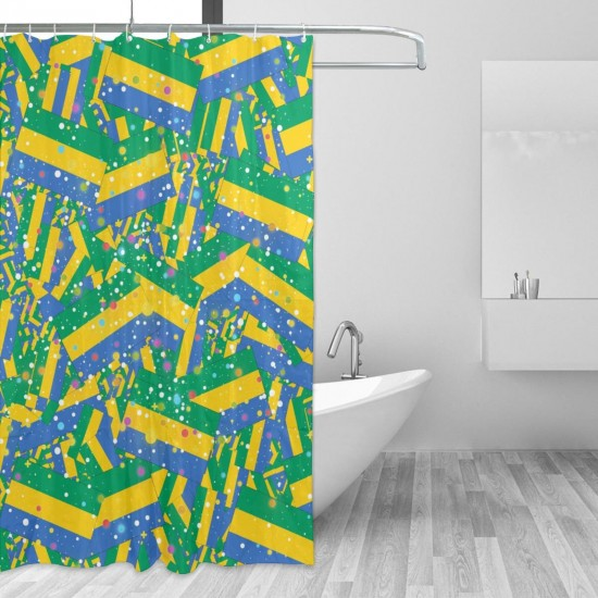 Gabon Shower Curtain , Shower Bathroom Curtain 55x72 Inch Waterproof Fabric with Hooks , Wildly used in bathroom and hotel etc.