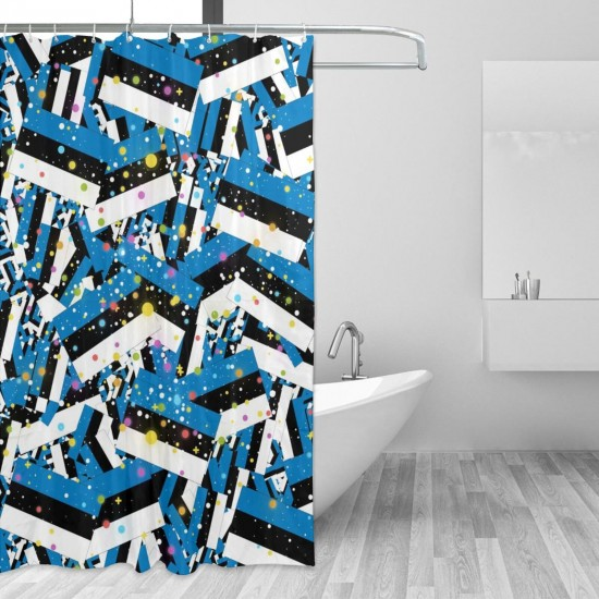 Estonia Shower Curtain , Shower Bathroom Curtain 55x72 Inch Waterproof Fabric with Hooks , Wildly used in bathroom and hotel etc.