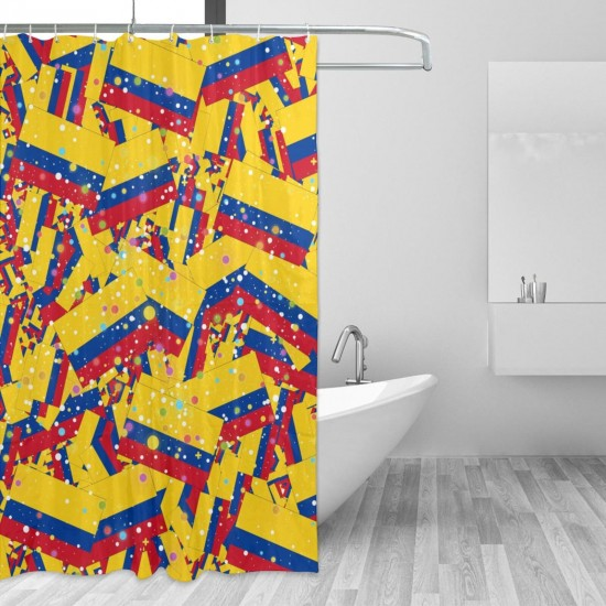 Colombia Shower Curtain , Shower Bathroom Curtain 55x72 Inch Waterproof Fabric with Hooks , Wildly used in bathroom and hotel etc.
