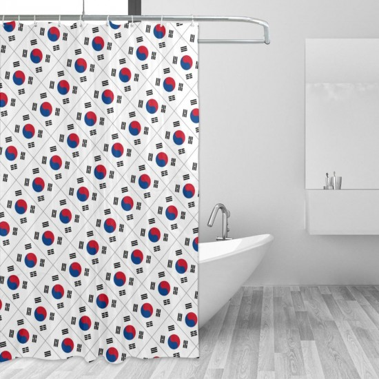 South Korea Shower Curtain , Shower Bathroom Curtain 55x72 Inch Waterproof Fabric with Hooks , Wildly used in bathroom and hotel etc.