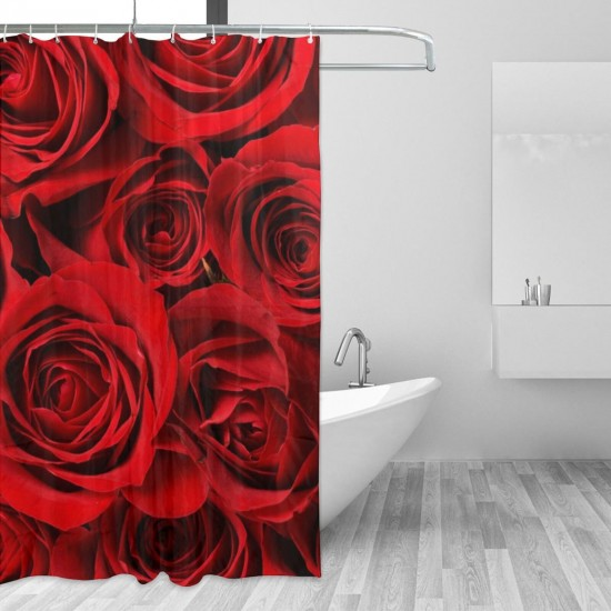 Beautiful Red Rose Flower Floral Pattern Shower Curtain , Shower Bathroom Curtain 55x72 Inch Waterproof Fabric with Hooks , Wildly used in bathroom and hotel etc.