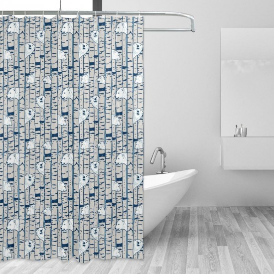 Bears Birch Forest Snow Pattern Shower Curtain , Shower Bathroom Curtain 55x72 Inch Waterproof Fabric with Hooks , Wildly used in bathroom and hotel etc.