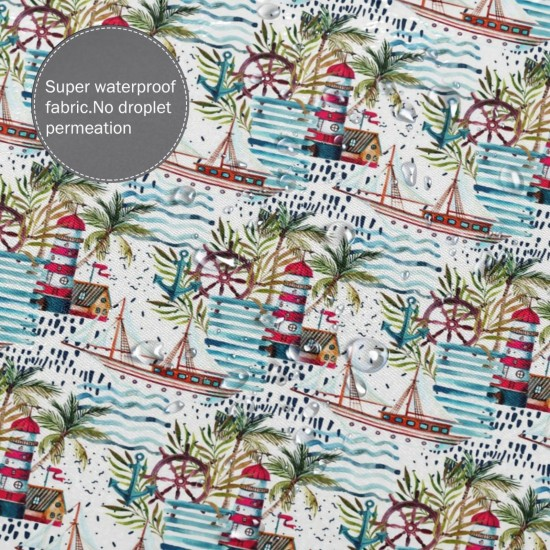 Beach Sailboat Lighthouse Pattern Shower Curtain , Shower Bathroom Curtain 55x72 Inch Waterproof Fabric with Hooks , Wildly used in bathroom and hotel etc.