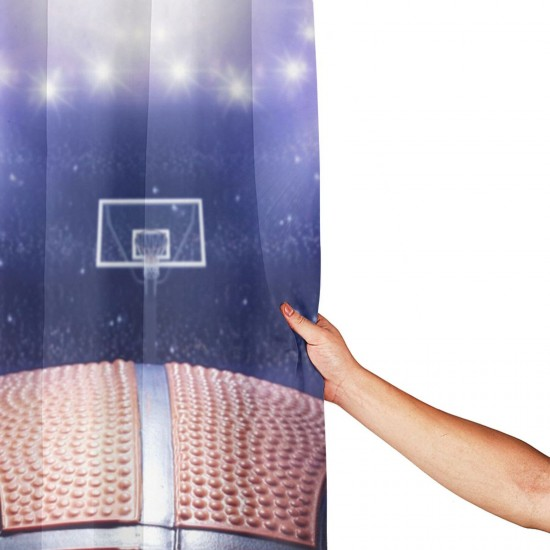Basketball 3D Stylish Shower Curtain , Shower Bathroom Curtain 55x72 Inch Waterproof Fabric with Hooks , Wildly used in bathroom and hotel etc.