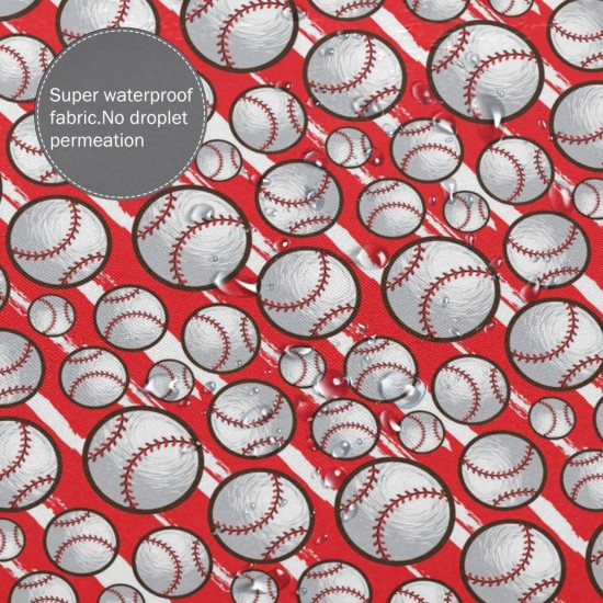 Baseball Pattern Red Shower Curtain , Shower Bathroom Curtain 55x72 Inch Waterproof Fabric with Hooks , Wildly used in bathroom and hotel etc.