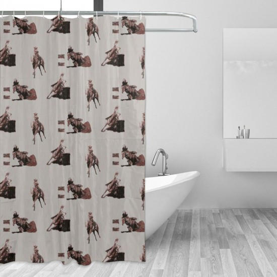 Barrel Racing Shower Curtain , Shower Bathroom Curtain 55x72 Inch Waterproof Fabric with Hooks , Wildly used in bathroom and hotel etc.