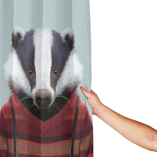 Badger Sir Shower Curtain , Shower Bathroom Curtain 55x72 Inch Waterproof Fabric with Hooks , Wildly used in bathroom and hotel etc.