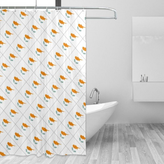 Cyprus Shower Curtain , Shower Bathroom Curtain 55x72 Inch Waterproof Fabric with Hooks , Wildly used in bathroom and hotel etc.