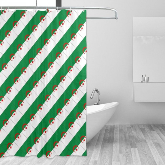 Algeria Shower Curtain , Shower Bathroom Curtain 55x72 Inch Waterproof Fabric with Hooks , Wildly used in bathroom and hotel etc.