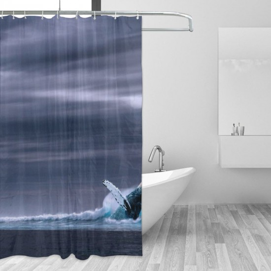 Blue Whale Shower Curtain , Shower Bathroom Curtain 55x72 Inch Waterproof Fabric with Hooks , Wildly used in bathroom and hotel etc.
