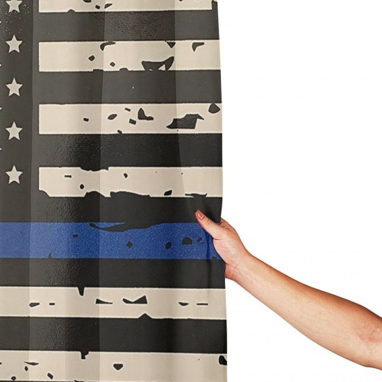 Blue Line Flag Shower Curtain , Shower Bathroom Curtain 55x72 Inch Waterproof Fabric with Hooks , Wildly used in bathroom and hotel etc.