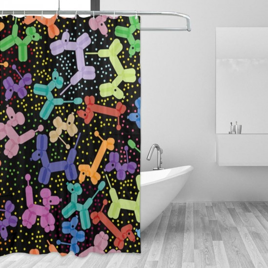 Black Colorful Balloon Dog Shower Curtain , Shower Bathroom Curtain 55x72 Inch Waterproof Fabric with Hooks , Wildly used in bathroom and hotel etc.