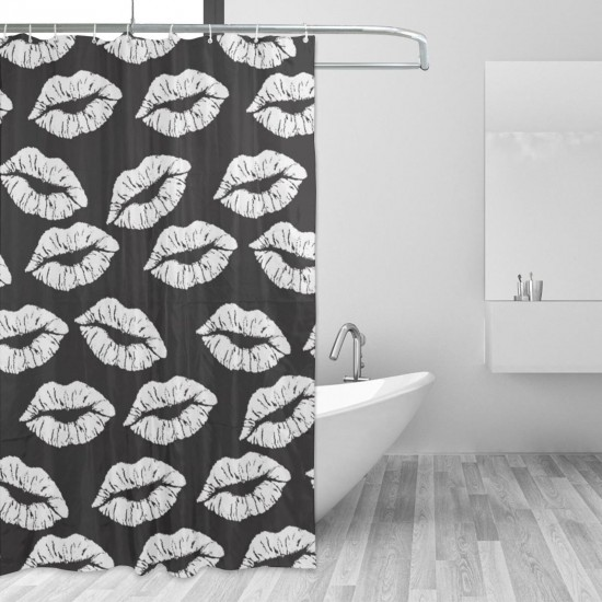 Black And White Lips Kisses Shower Curtain , Shower Bathroom Curtain 55x72 Inch Waterproof Fabric with Hooks , Wildly used in bathroom and hotel etc.
