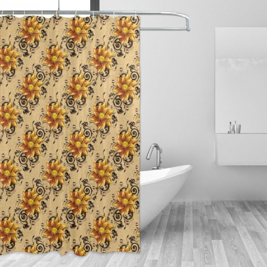 Seamless Texture With Flowers Shower Curtain , Shower Bathroom Curtain 55x72 Inch Waterproof Fabric with Hooks , Wildly used in bathroom and hotel etc.