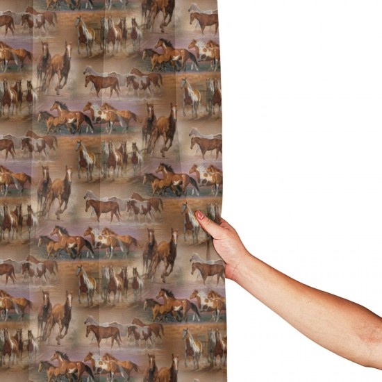 Horses In The Field Shower Curtain , Shower Bathroom Curtain 55x72 Inch Waterproof Fabric with Hooks , Wildly used in bathroom and hotel etc.