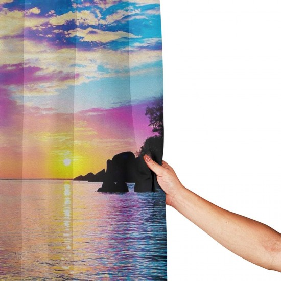 Fantasy Island Shower Curtain , Shower Bathroom Curtain 55x72 Inch Waterproof Fabric with Hooks , Wildly used in bathroom and hotel etc.