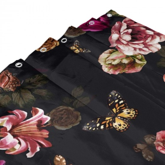 Butterfly Flowers Pattern Shower Curtain , Shower Bathroom Curtain 55x72 Inch Waterproof Fabric with Hooks , Wildly used in bathroom and hotel etc.
