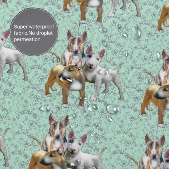 Bull Terriers And Flowers Shower Curtain , Shower Bathroom Curtain 55x72 Inch Waterproof Fabric with Hooks , Wildly used in bathroom and hotel etc.