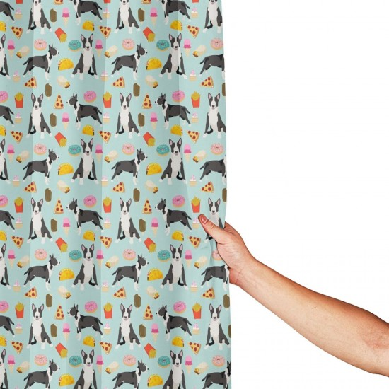 Bull Terrier Junkies Shower Curtain , Shower Bathroom Curtain 55x72 Inch Waterproof Fabric with Hooks , Wildly used in bathroom and hotel etc.