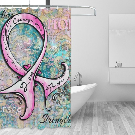 Breast Cancer Awareness Pink Ribbon Shower Curtain , Shower Bathroom Curtain 55x72 Inch Waterproof Fabric with Hooks , Wildly used in bathroom and hotel etc.