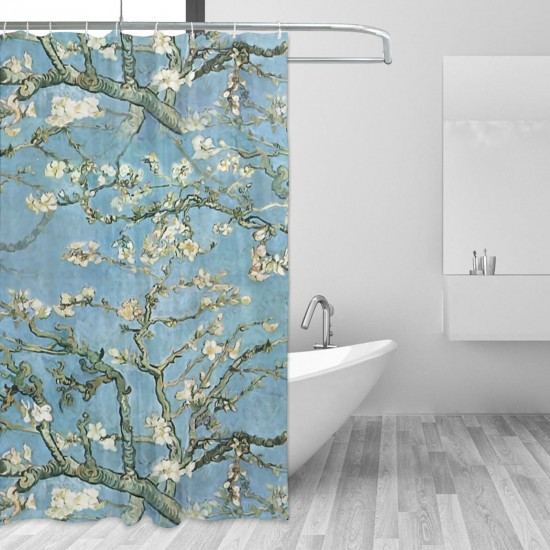 Branches Of An Almond Tree In Blossom Shower Curtain , Shower Bathroom Curtain 55x72 Inch Waterproof Fabric with Hooks , Wildly used in bathroom and hotel etc.